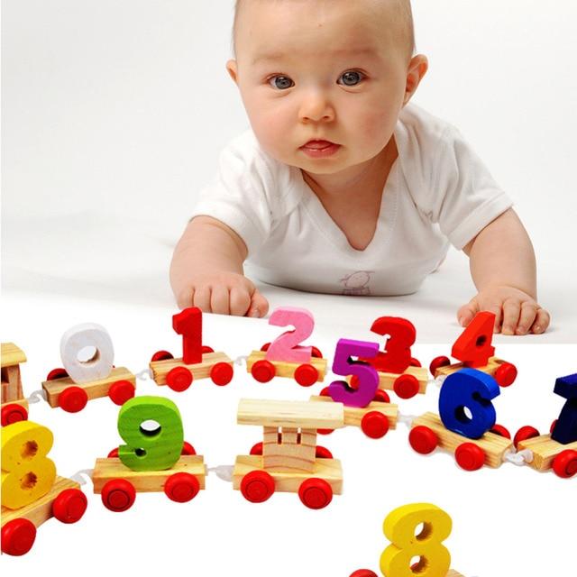 Ребенок Деревянный Поезд Игрушки для Детей Цифровой Маленький Поезд 9 Развивающие Игрушки Малышей