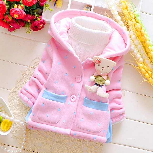 Hot Sale 2016 Winter Baby Girls Coats Kids Bear Jackets Fashion Hooded Children Outdoor Parka Warm Flowers Cotton-padded Coats