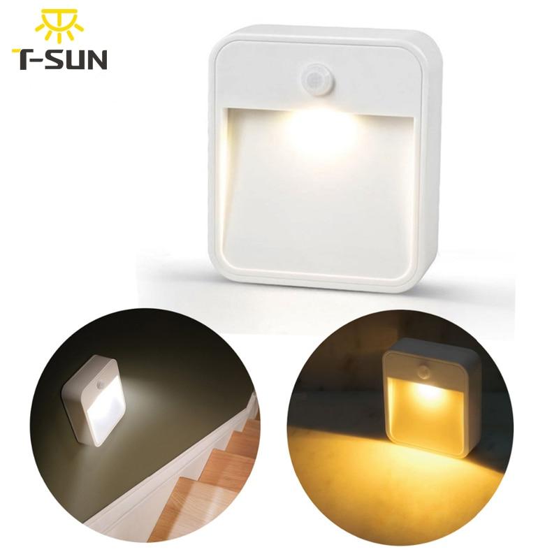 T-SUNRISE LED Night Light Lámpara de pared inalámbrica Luces con sensor de movimiento Accesorios de iluminación para hogares Sensor humano Lámpara de luz