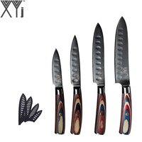 XYj Kitchen Damascus Steel Knife Set 4 Piece Japanese VG10 Damasucs Steel Sharp Blade Paring Utility Slicing Chef Knives