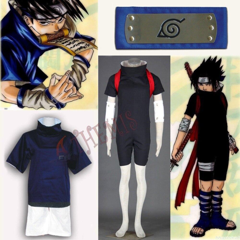 Athemis caliente barato Naruto Uchiha Sasuke Cosplay trajes con original azul diadema, regalo Unisex trajes ropa Casual ropa de cualquier tamaño