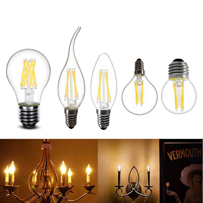 LED Filament Bulb E27 Bulb Retro Lamp 220V G45 A60 E14 Vintage Candle Light Globe Ball Led Bulb Edison Bright Lighting