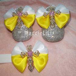 الأصفر bowknot مخصص البريق بلينغ بلورات الراين الطفل بنات أحذية الرضع 0-1Y الشريط أحذية الأولى مشوا هيرباند 8831