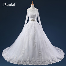 Real Photo Lace Tull Appliques Long Wedding Dresses Ball Gown Boat Neck Long Sleeves Button Back Sash Beaded Bridal Gown ASAFN22