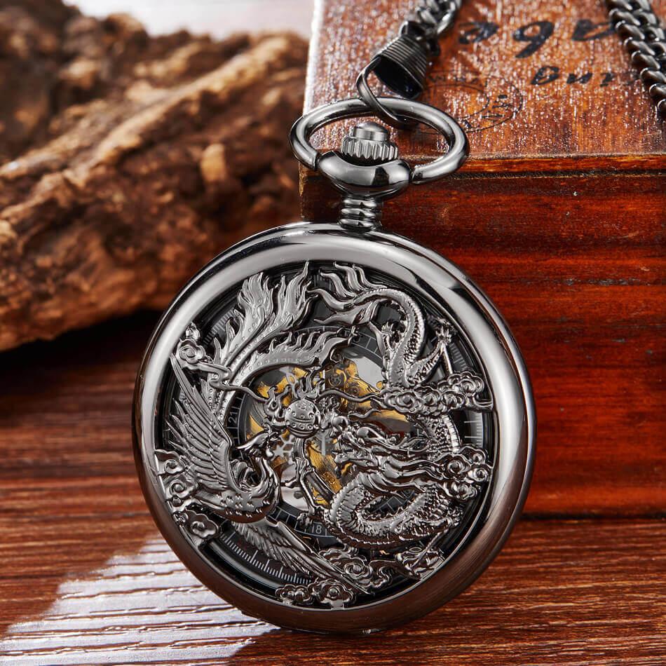 Relógio de Bolso Esqueleto de Ouro Relógios de Bolso Chinês Flying Dragon Phoenix Mecânico Chains Steampunk Fob Relógio Clipe Presentes &