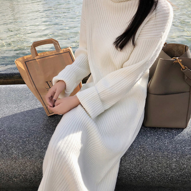 DUOUPA 2019 Long Autumn Winter Turtleneck Sweater Dress Women Slim Solid Knitted Sweaters Fashion Casual Korean Pullover Sweater in Pullovers from Women 39 s Clothing