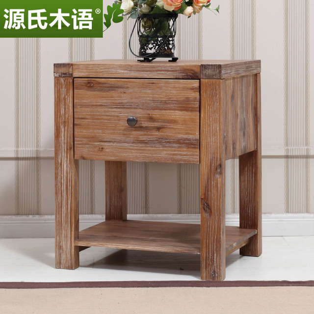 Genji language wooden nightstand solid wood furniture, acacia wood imported  tropical garden style side a
