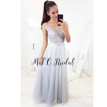 Illusion Sliver Pearls Gorgeous Evening Dress 2019 New V Neck Backless See Through Tulle Long Special Occasion Dresses Custom