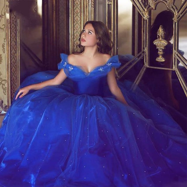 67a97b2cb Cinderella Royal Blue Quinceanera Dresses Ball Gown Off the Shoulder Organza  Lace-up Sweet 16