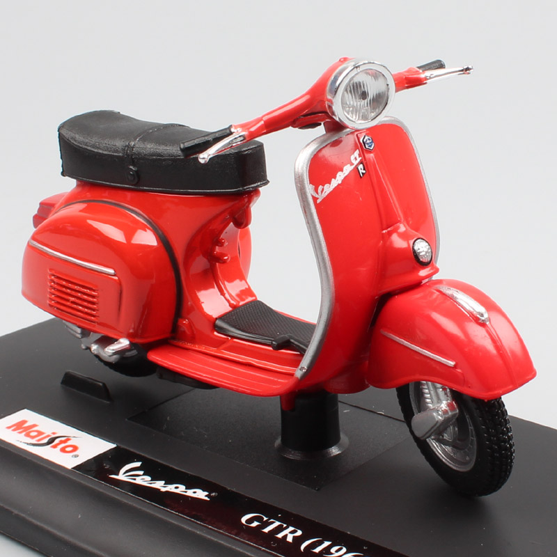Kid 1/18 Scale Vintage Maisto Piaggio Vespa GTR 1968 125 Motor Scooter Motorcycle Motorbike Diecast Toy Model For Boy Collection