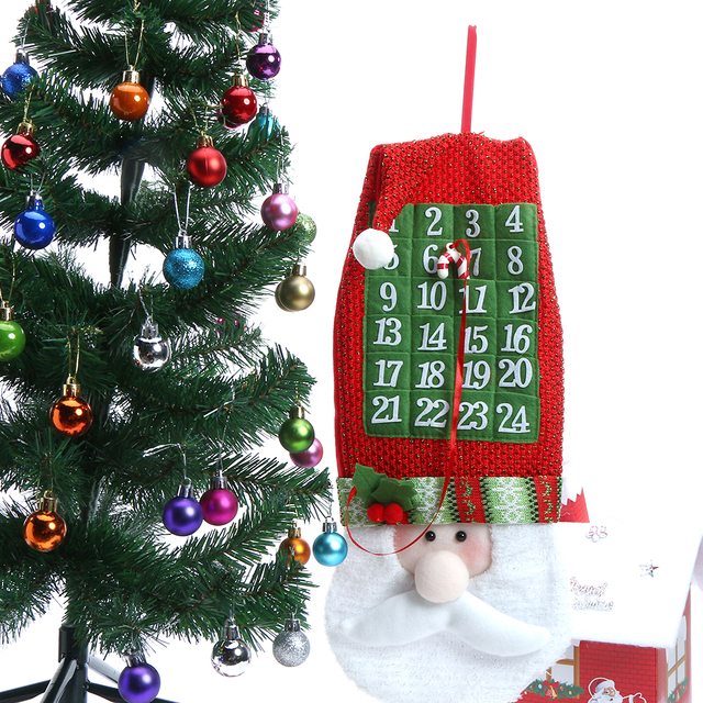 newest santa claus christmas calendars wall hanging ornaments navidad xmas advent countdown calendar party favor 54x22cm