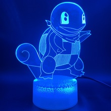 3d Optical LED Night Lamp Game Pokemon Go Squirtle Figure Office Room Decorative Desk Cool Kids Gift Childrens Nightlight