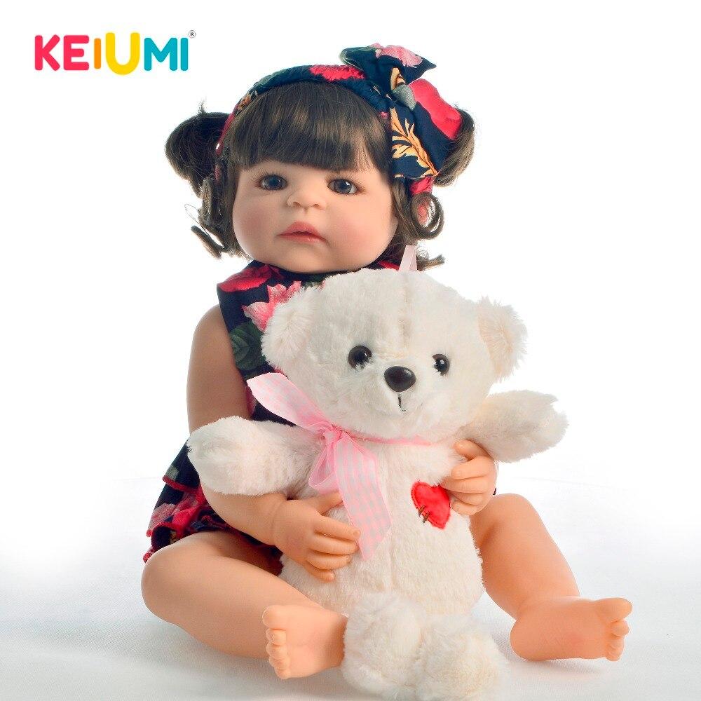 KEIUMI Heißer Verkauf 22 Zoll Reborn Baby Puppe Silikon Ganzkörper Realistische Mädchen Babys Spielzeug Mode Puppe Für kinder tag Geschenke