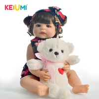 KEIUMI Hot Sale 22 Inch Reborn Baby Doll Silicone Full Body Realistic Girl Babies Toy Fashion Doll For Children's Day Gifts