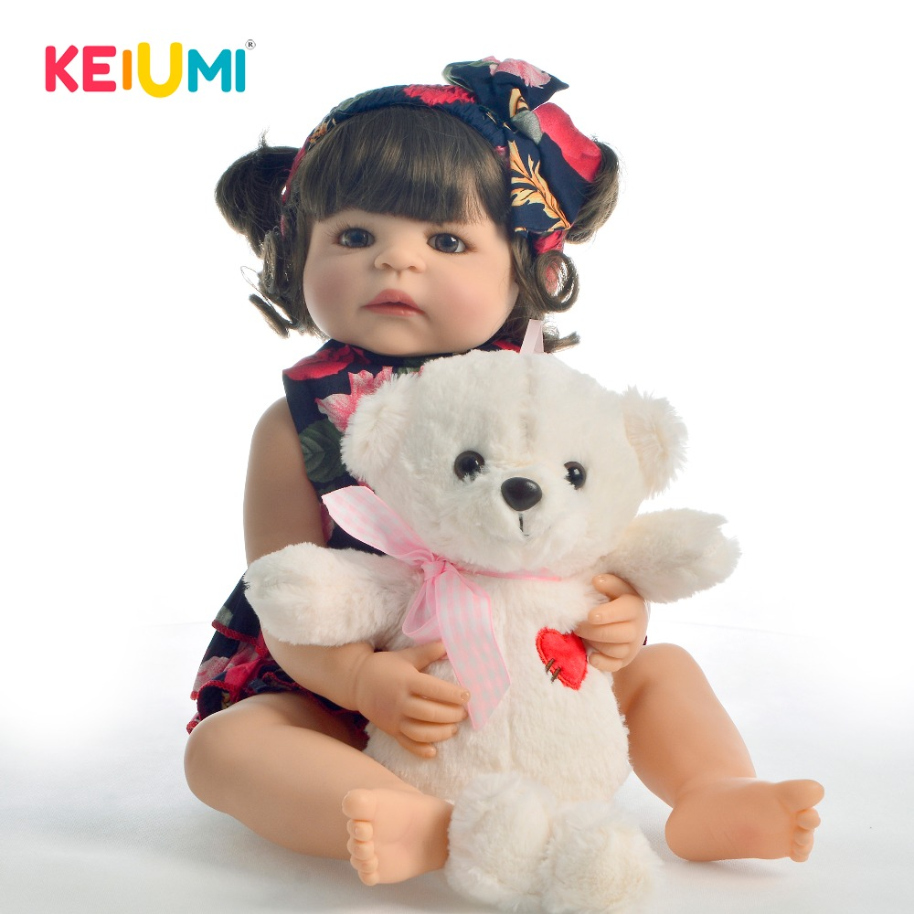 Keiumi venda quente 22 Polegada reborn bebê boneca de silicone de corpo inteiro realista menina bebês brinquedo boneca moda para presentes do dia das crianças