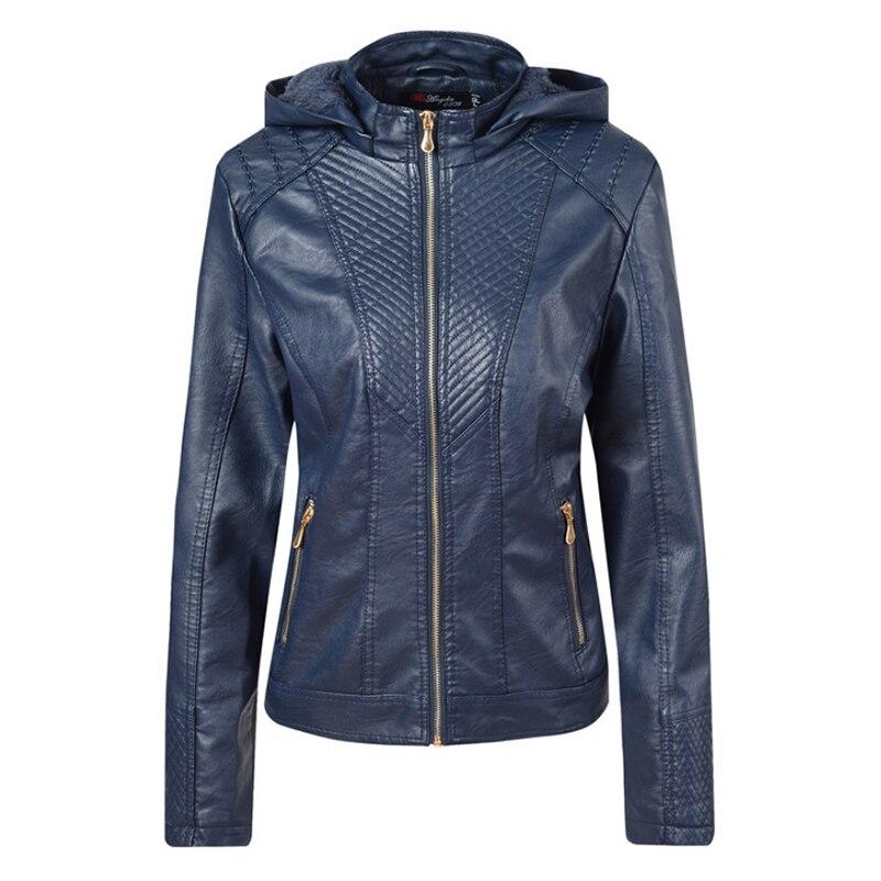 Liva girl 2019 Winter Women PU   Leather   Jacket Plus Velvet Thick Warm Slim Hooded   Leather   Jacket