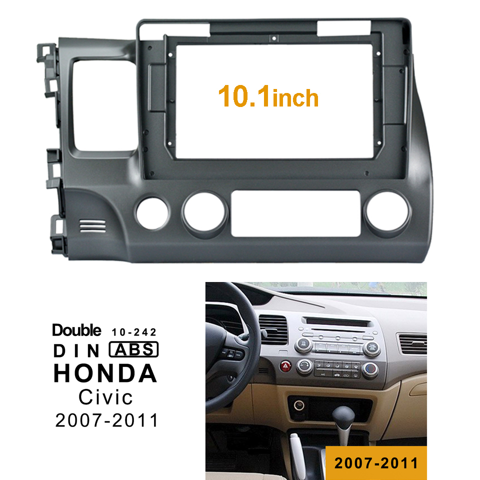 2Din Car DVD Frame Audio Fitting Adaptor Dash Trim Kits Facia Panel 10.1inch For Honda Civic Left2007 11 Double Din Radio Player-in Fascias from Automobiles & Motorcycles
