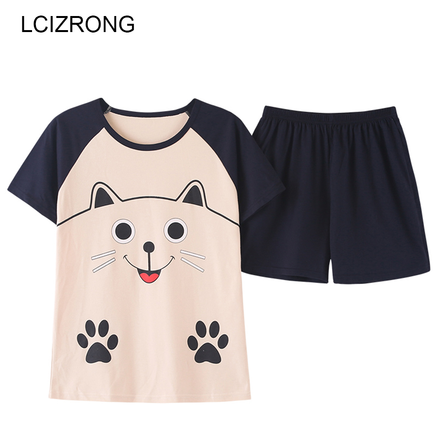 Summer Cartoon Cat Cotton 2pcs/  set     Pajamas     Sets   Women Cute Round Neck Short Nightgown And Shorts Comfortable Home   Pajama   Top