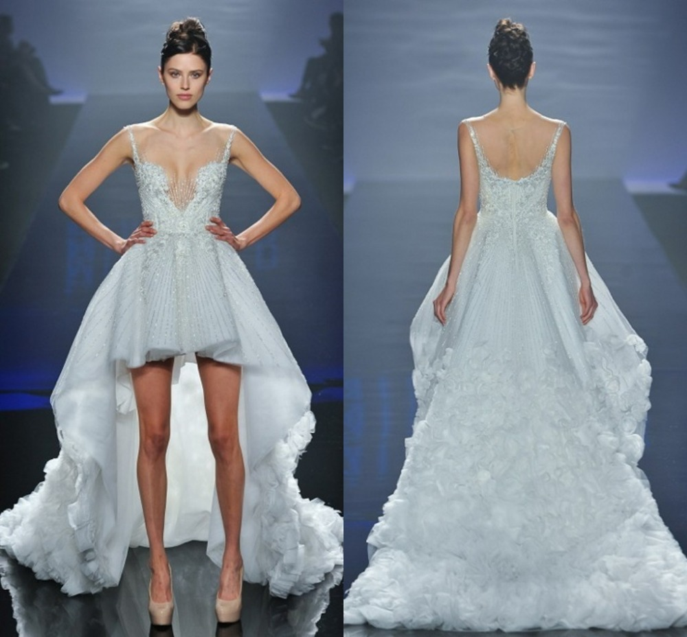 Romantic Wedding Dress Runway Sheer Sleeveless Beading Appliqeus ...