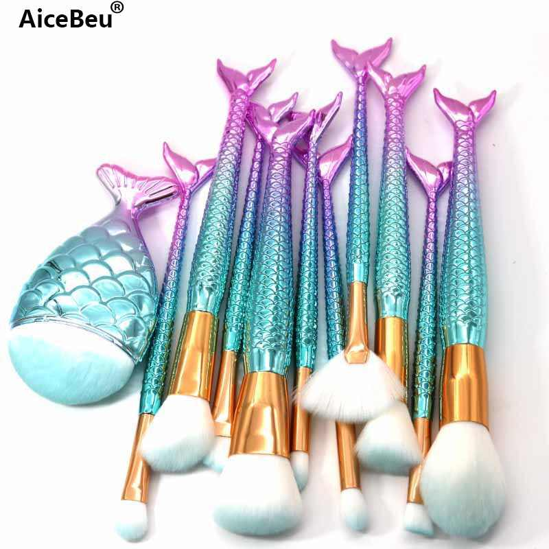 Aicebeu 1/10/11 Pcs Mermaid Makeup Brushes Foundation Eyebrow Eyeliner Blush Bubuk Concealer Makeup Brushes Set Maquillaje