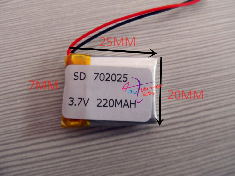3.7V polymer lithium battery 702025 MP3 Bluetooth headset wireless headset wireless mouse 220mAH 3 7v lithium polymer battery 601723 battery bluetooth headset battery length 23mm wide 17mm thick