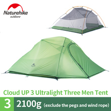 NatureHike 3 Person Lightweight Camping Tent Outdoor Hiking Backpacking Ultralight 3 Man Best Family Camping Tent With Mat naturehike new mongar 2 person ultralight silicone camping tent outdoor best hiking hunting mountaineering camp tent