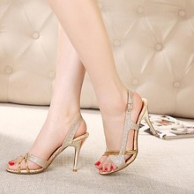Women Sandals Dunne High Hooks Golden Ladies Summer Shoes Gladiator Open Toe Hol Bling Glitter Pu