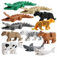 Animal Model Figures Building Block Sets Crocodile leopard shark kids educational toys for children Gift Brinquedos