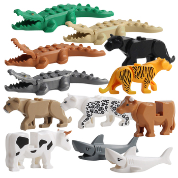 Animal Model Figures Building Block Sets Crocodile leopard shark kids educational toys for children Gift Brinquedos недорого
