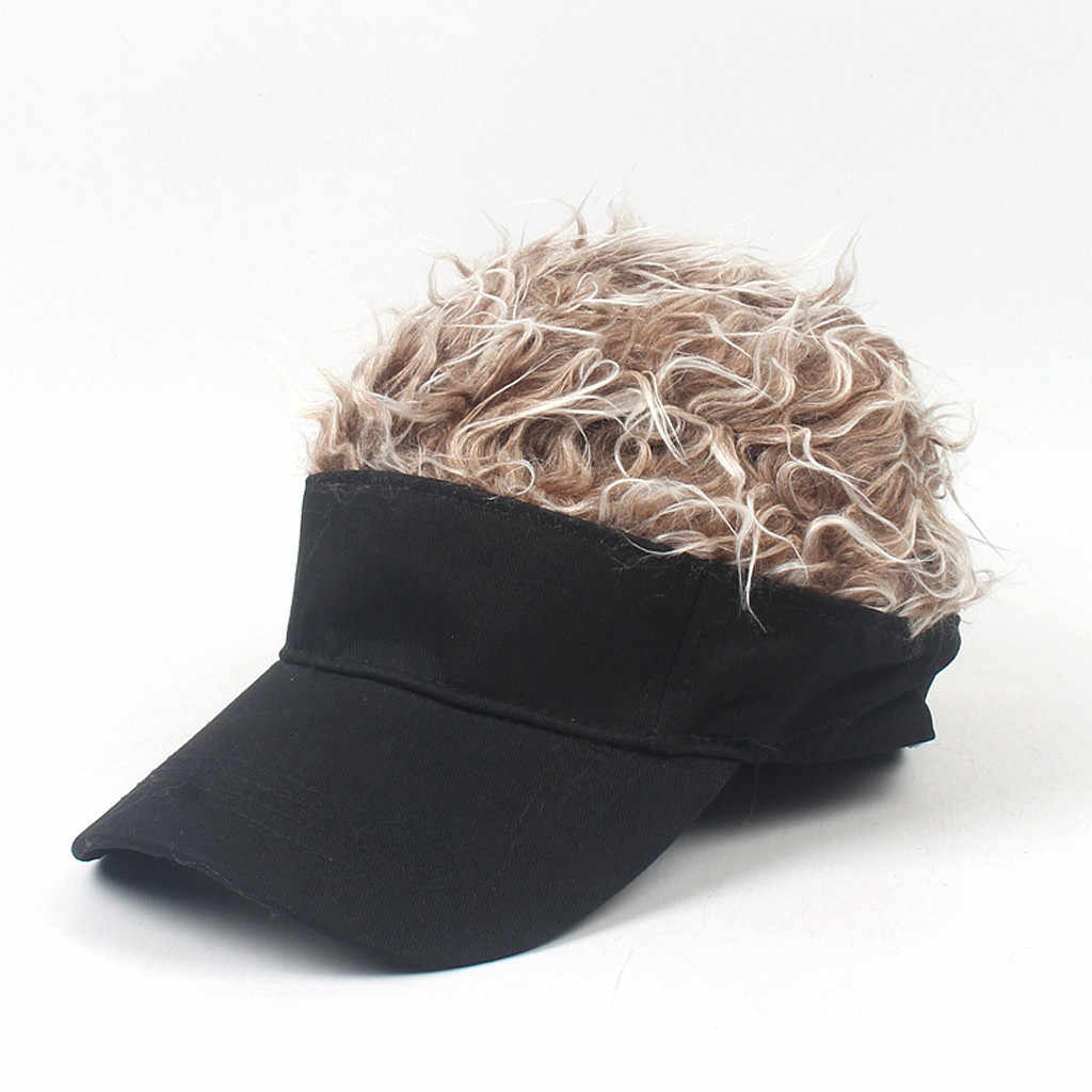 KANCOOLD Novelty Baseball Cap Fake Flair Hair Sun Visor Hats Men's Women's Toupee Wig Funny Hair Loss Cool Gifts Golf Cap