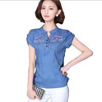 Womens Tops Cotton Linen Floral Embroidery Womens Blouses 2017 Summer New Short Sleeve Casual Shirt Women