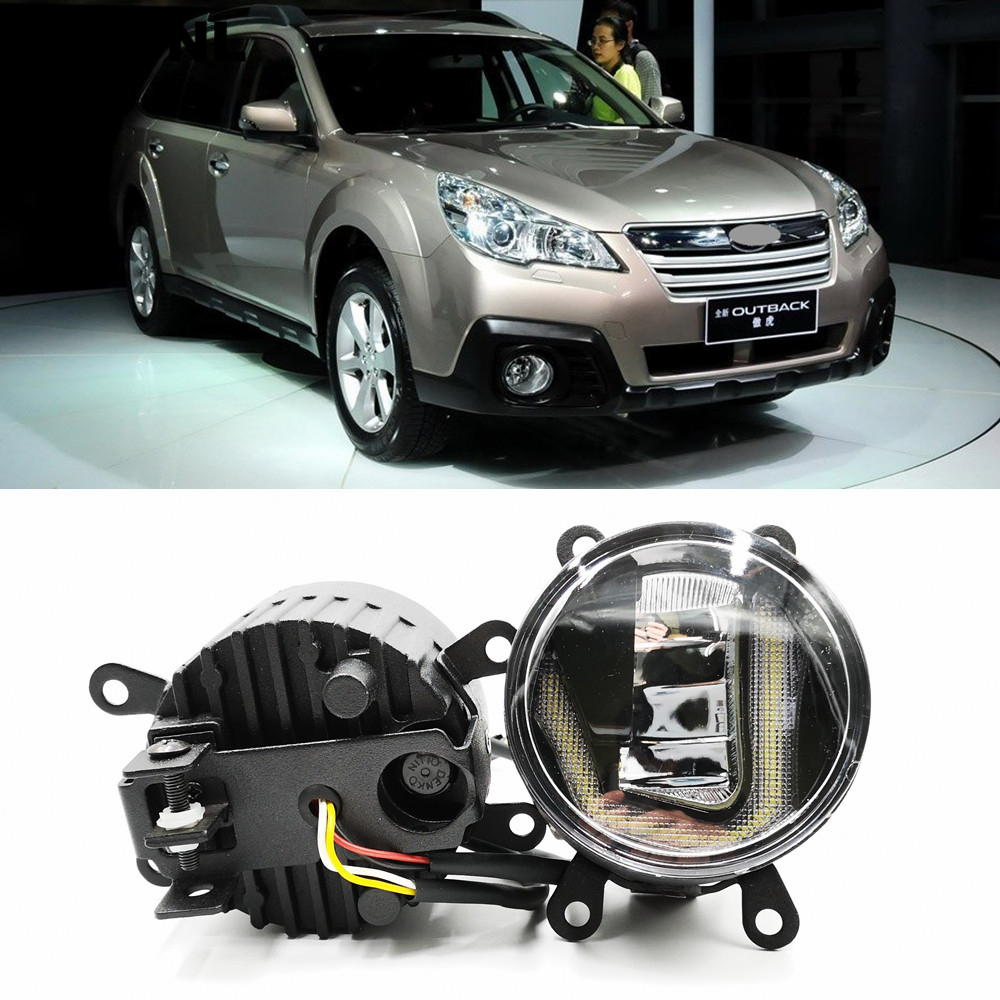 3-IN-1 Functions Auto LED For Subaru Outback 2013-2016 DRL Daytime Running Light Car Projector Fog Lamp With Yellow Signal