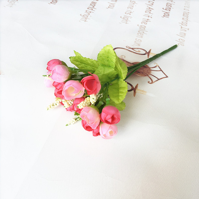 15 heads simulation flower QQ thumb rose pink aesthetic simulation small tea Mei decorated household flowers
