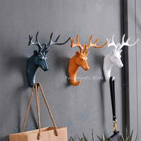 Retro Deer head animal decoration wall hook up fashion home Hat clothing 3D stereoscopic wall hooks