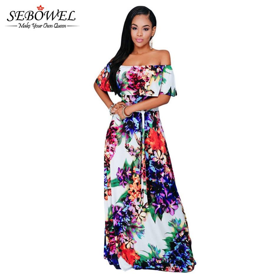 SEBOWEL 2018 Summer Floral Maxi Boho Beach Dress Women Plus Size Sexy Off  Shoulder Long Dress Casual Loose Female Sundress 8b4f5da0c009