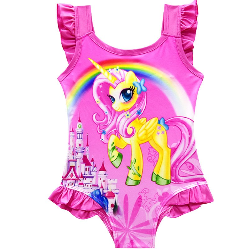 63123f467e 2019 New Baby Girls Summer Dress Swimsuit Children Cartoon pony Swimming Bikini  Bathing Suit Vestidos Costume Kids Clothing