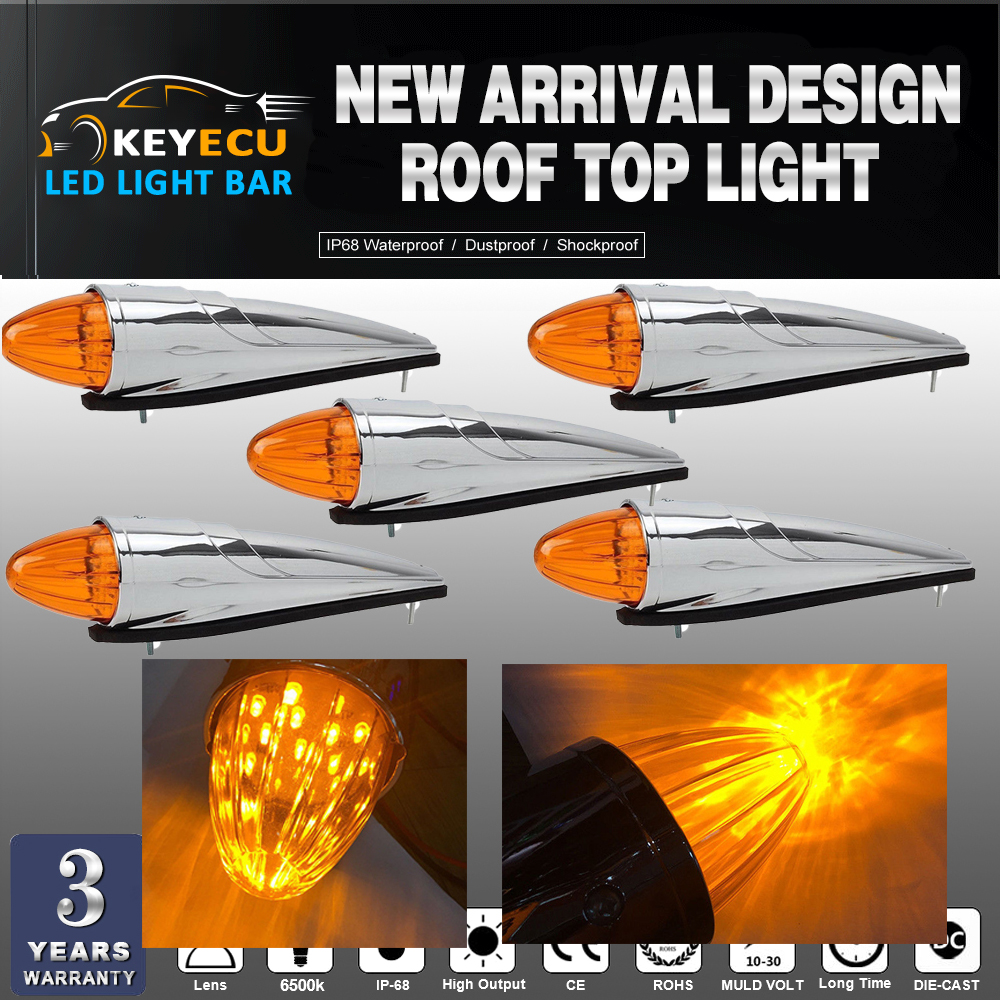 Здесь можно купить  KEYECU 5x 17 LED Amber Chrome Torpedo Cab Marker Clearance Roof Running Top Light Assembly for Heavy Duty Trucks Kenworth  Автомобили и Мотоциклы