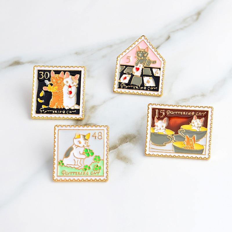 3~6pcs/set Cat rose bird koi sakura cool car Brooch Button Pins Denim lapel pin badge Fashion cartoon jewelry Gift for Kids girl 5