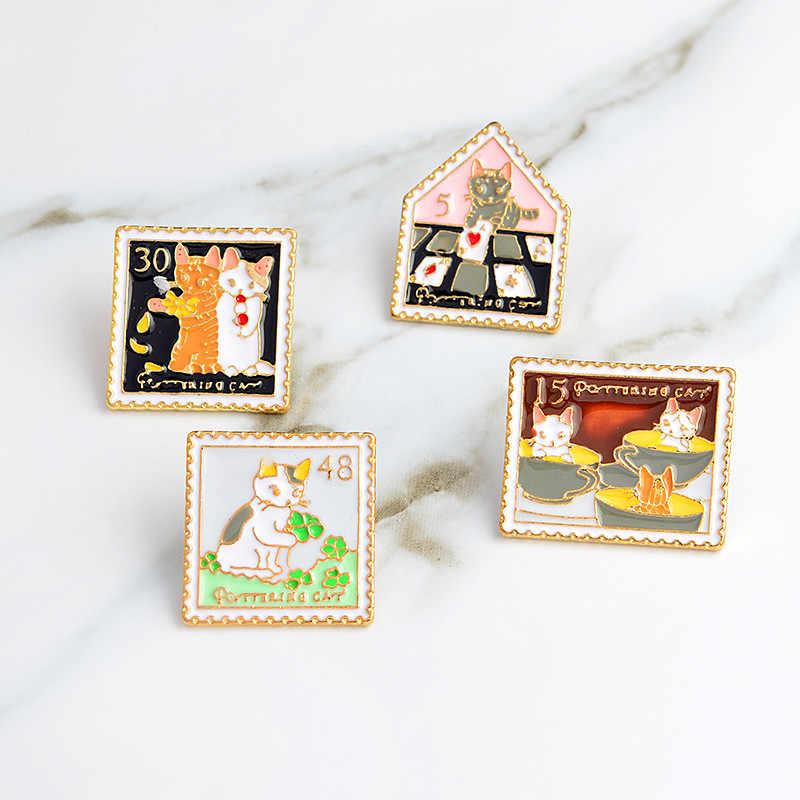 3 ~ 6 adet/takım kedi gül kuş koi sakura serin araba broş düğme pimleri Denim yaka pin rozeti moda karikatür takı hediye çocuklar için