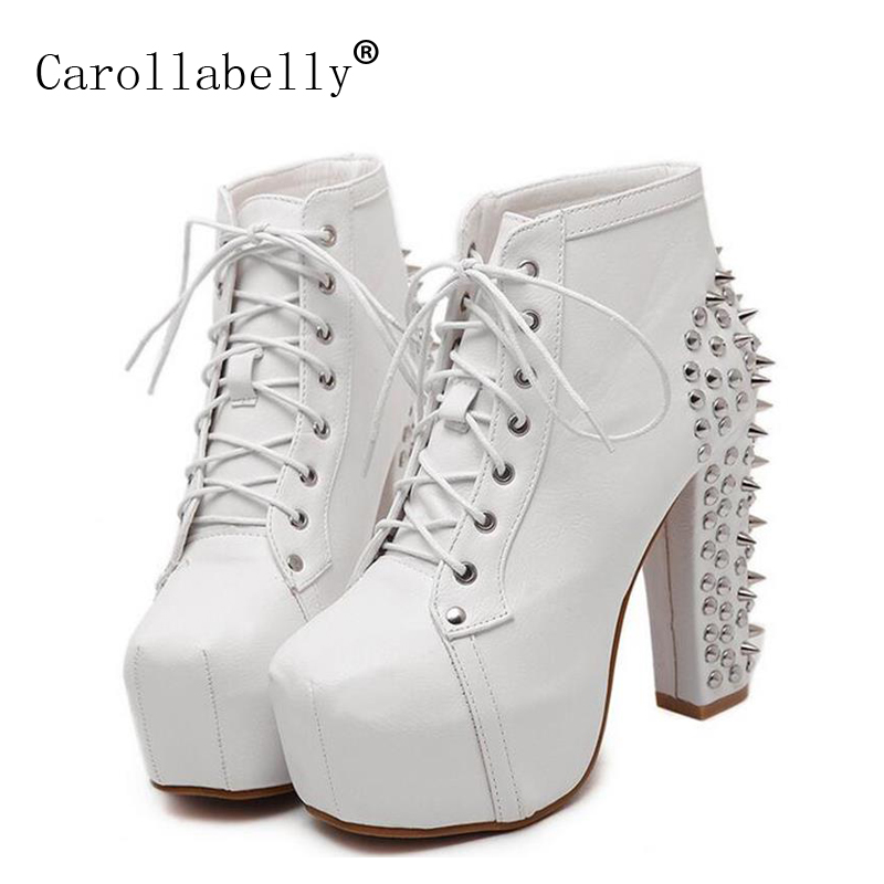 New 2018 Hot Sale Women Lace Up Studded Rivets Ankle Boots Rivtes High Heels Platform Shoes Motorcycle Boots Size 35-40