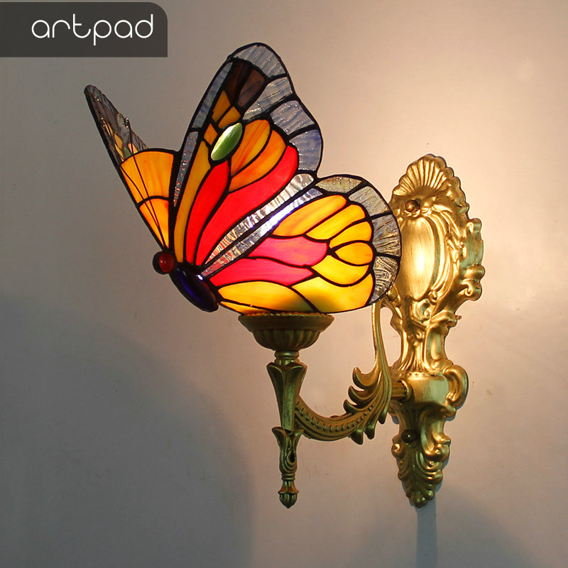 Artpad Baroque Vintage Turkish Wall Lamp Bedroom Aisle Corridor Bathroom Stained Glass Lampshade Butterfly Wall Bracket Light in LED Indoor Wall Lamps from Lights Lighting