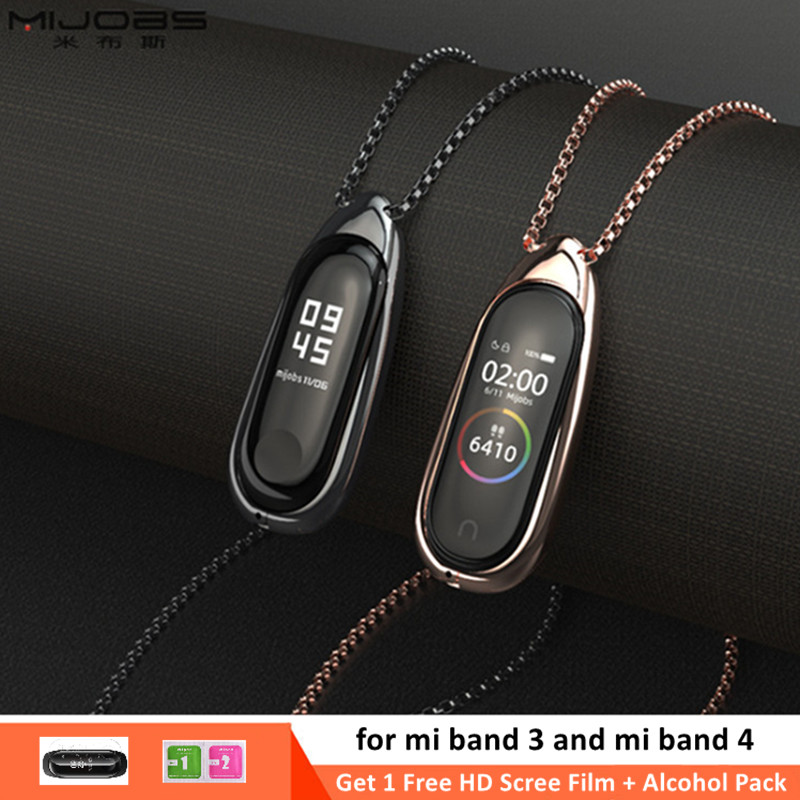 Mijobs For Xiaomi Mi Band 3/4 Necklace Pendant Wrist Strap MiBand3/4 Watches Metal Stainless Steel Bracelet Miband 3/4 Wristband