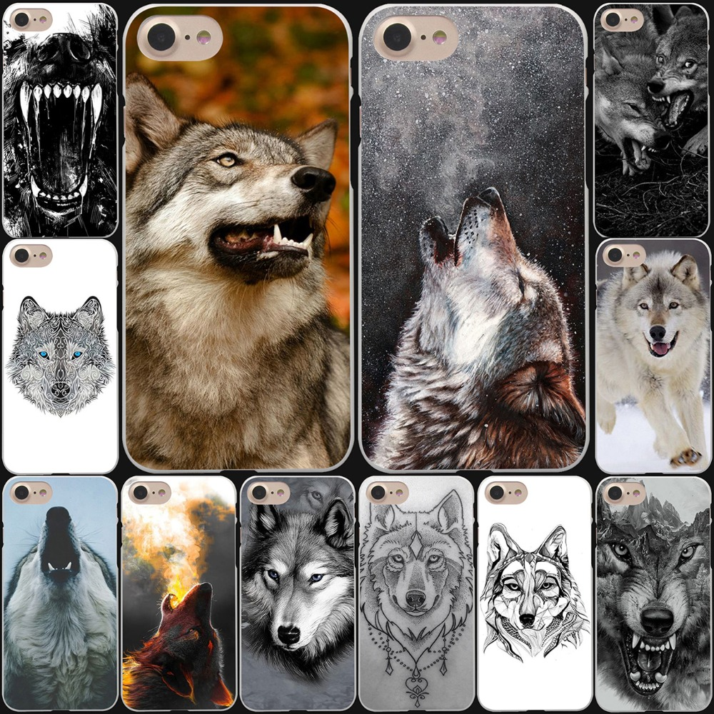 Fierce Snow Wolf Hard White Cover Case For IPhone 8 8 Plus 7 7 Plus 6 6S Plus 5 5S SE 4 4S X10