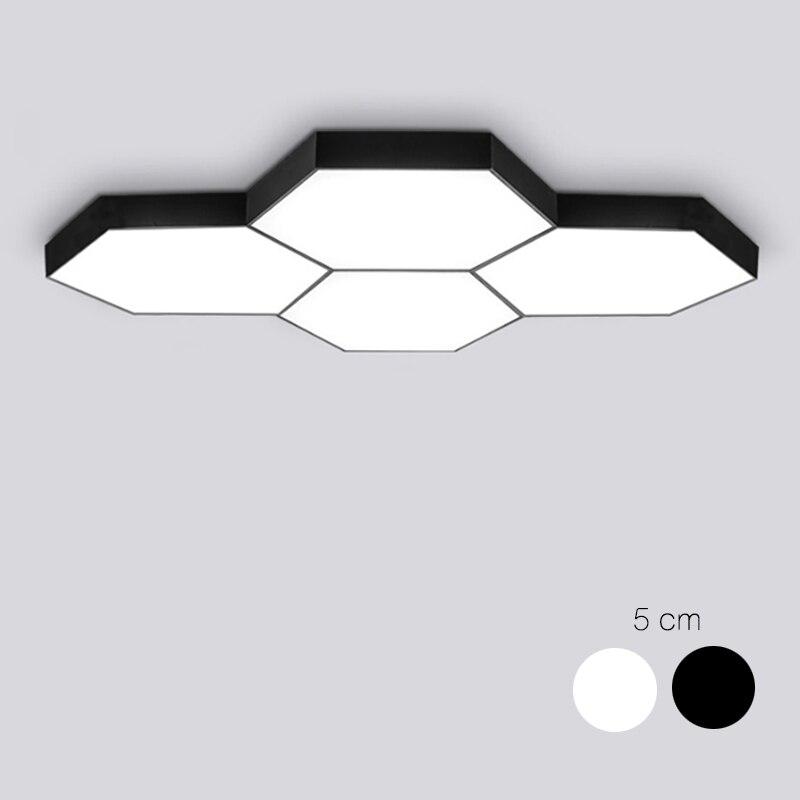 DX Hexagon LED Ceiling Light Modern Lamp Living Room Lighting Fixture Bedroom Kitchen Surface Mount Flush Panel Remote Control