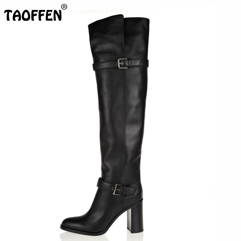 Size 31-45 Women Real Genuine Leather High Heel Over Knee Boots Long Boot Winter Botas Militares Brand Footwear Shoes R5391 women real natrual genuine leather high heel boots half short feminina botas winter boot footwear shoes r7249 size 34 39