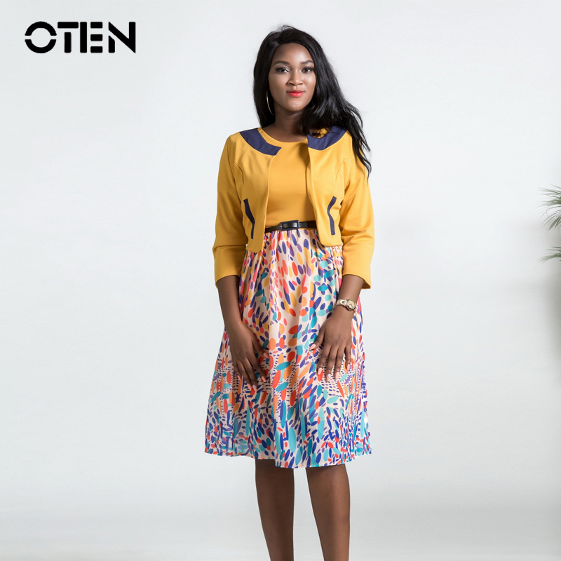 OTEN Two Piece Set dresses Autumn 2018 Women 3/4 Sleeve Printed Casual Chiffon Office Work wear Knee Length Midi dress Ladies
