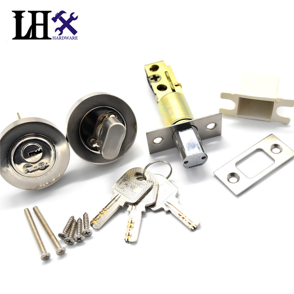LHX CMMS241 Hardware New Round Interior Door Lock Beautiful Modern Stainless Steel One Side Open With Key Locks Cerradura цена