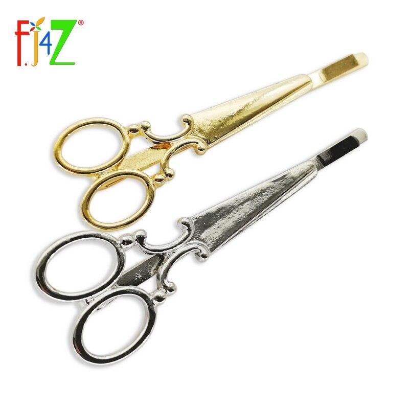 2 pcs Ciseaux Pince à Cheveux Diapositive pin or ou argent fashion hair accesories