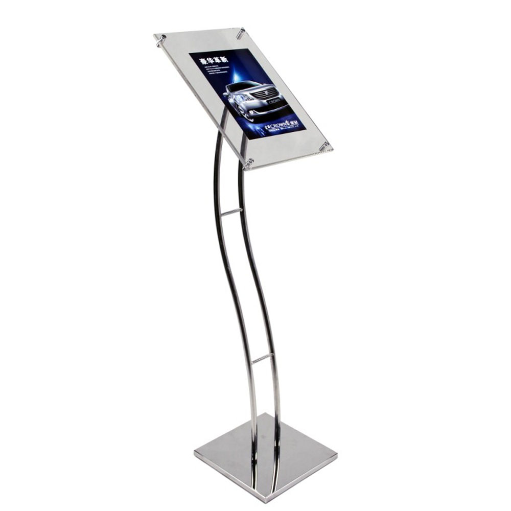 A3 Floor Standing Eclipse Sign Stands with Curved Pole for Graphics,Advertise,Poster,Signage FLSD-004-1