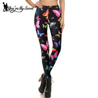 [You're My Secret] Adventure Time Punk Rock Harajuku Fitness Leggins Sexy 3d Print Colorful Butterfly Women Leggings Wholesale